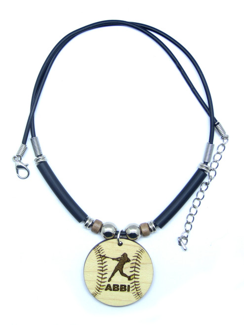 D-Customized Softball Batter Maple Hardwood Pendant Necklace Engraved With Your Name, FREE SHIPPING