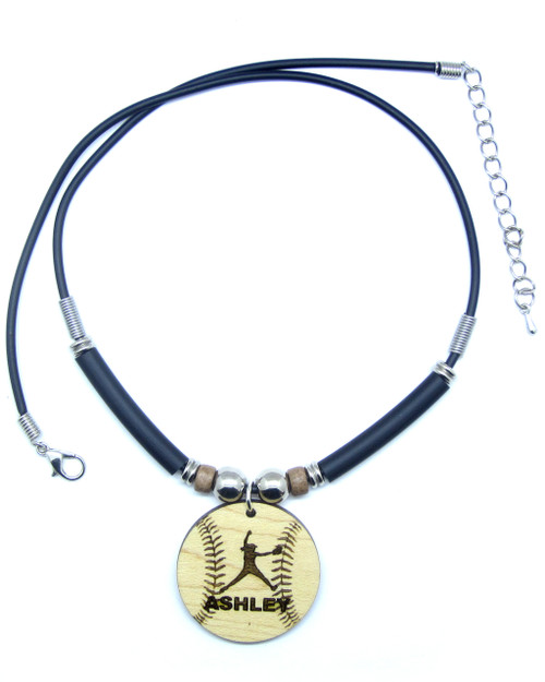 D-Customized Softball Pitcher Maple Hardwood Pendant Necklace Engraved With Your Name, FREE SHIPPING