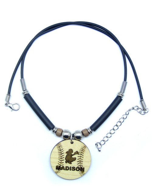 D-Customized Softball Catcher Maple Hardwood Pendant Necklace Engraved With Your Name, FREE SHIPPING