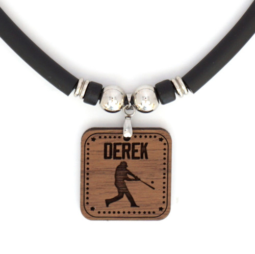 W-Baseball Batter Engraved Pendant Necklace With Your Name, FREE SHIPPING