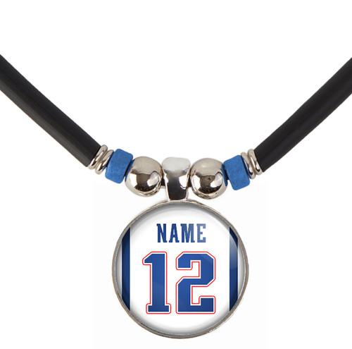 N-New England Football Jersey Pendant Necklace-Customize With Name and Number