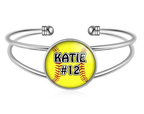 A-MO.BR-Softball Charm Bracelet- Girls Softball Adjustable Cuff Bracelet Jewelry- Customized Softball Bracelet with Name and Number- Softball Gifts, Softball Moms, Softball Teams …