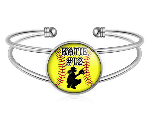 A-MO.BR-Softball Catcher Charm Bracelet- Girls Softball Adjustable Cuff Bracelet Jewelry- Customized Softball Bracelet with Name and Number- Softball Gifts, Softball Moms, Softball Teams ‰Û_