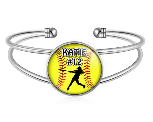 A-MO.BR-Softball Batter Charm Bracelet- Girls Softball Adjustable Cuff Bracelet Jewelry- Customized Softball Bracelet with Name and Number- Softball Gifts, Softball Moms, Softball Teams ‰Û_