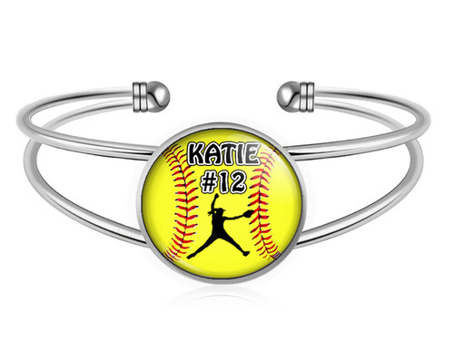 A-MO.BR-Softball Pitcher Charm Bracelet- Girls Softball Adjustable Cuff Bracelet Jewelry- Customized Softball Bracelet with Name and Number- Softball Gifts, Softball Moms, Softball Teams …