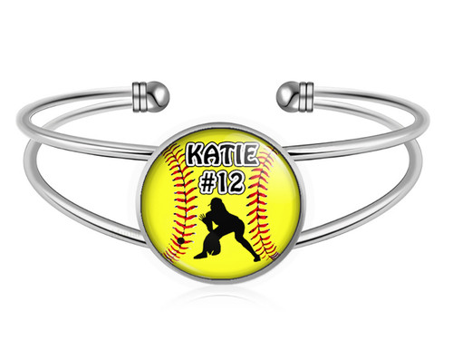 A-MO.BR-Softball Outfielder Charm Bracelet- Girls Softball Adjustable Cuff Bracelet Jewelry- Customized Softball Bracelet with Name and Number- Softball Gifts, Softball Moms, Softball Teams ‰Û_