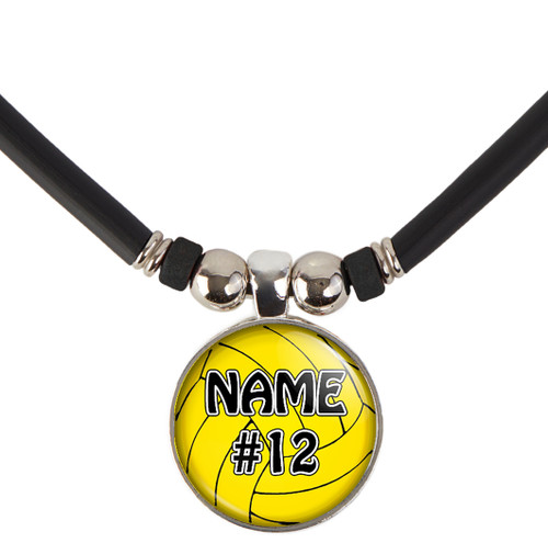 Personalized Cabochon Glass Water Polo necklace with name and number