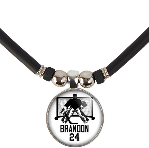 custom personalized hockey goalie pendant necklace