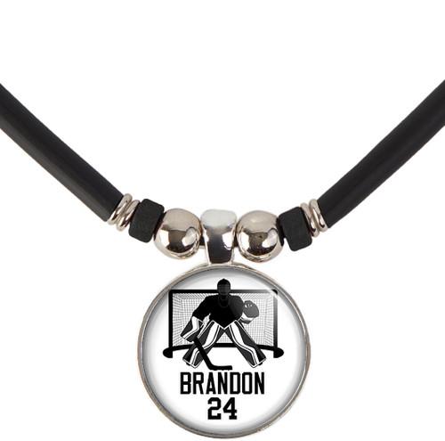 custom personalized hockey goalie pendant necklace