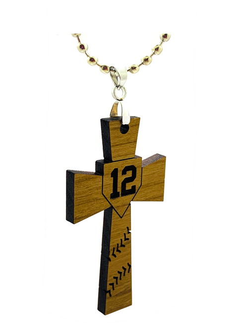 custom personalized Baseball/softball wood cross necklace with number name