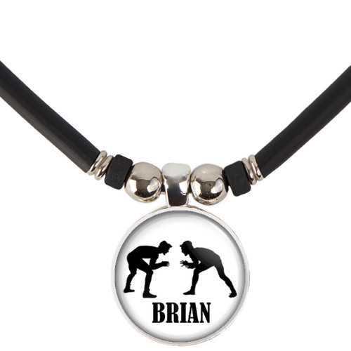 Personalized  Wrestling Necklace-Wrestling Pendant Necklace with Name-Free Customization