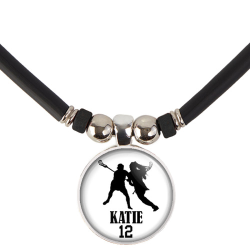 Personalized Girls Lacrosse Necklace- Lacrosse Pendant Necklace with Name and Number-Free Customization