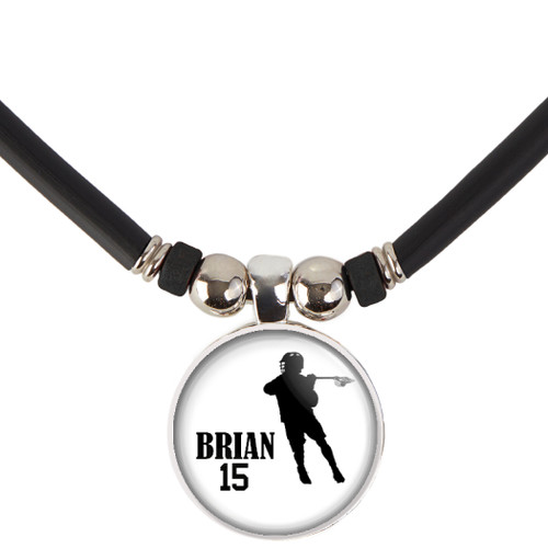 Personalized Boys Lacrosse Necklace- Lacrosse Pendant Necklace with Name and Number-Free Customization