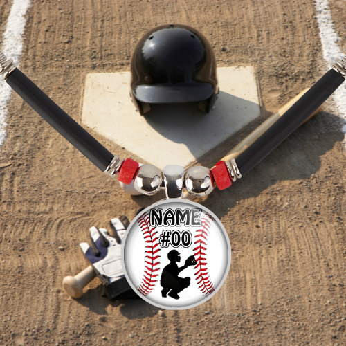 Custom Baseball Catcher Pendant Necklace With Name and Number
