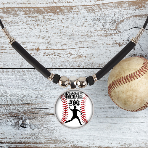 Personalized  Boys Baseball Pitcher Name and Number Pendant Necklace
