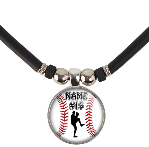 Baseball Left handed Pitcher Necklace With Name and/or Number