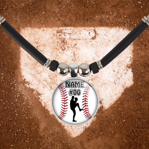 Personalized  Boys Baseball left Handed Pitcher Name and Number Pendant Necklace-Black Beads