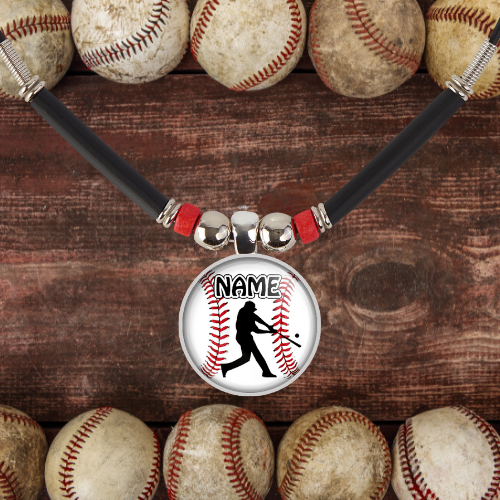 Baseball Gift, Baseball Batter Silhouette Necklace For Boys with Name and/or Number- Customized Baseball Team Gift, Trophy, Medals, Favors
