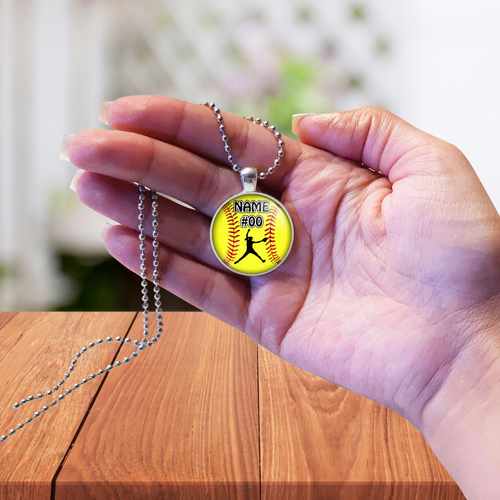 Softball Necklace Gift- Girls Softball Pitcher Pendant Jewelry with Personalized Name & Number-Customized Softball fastpitch Team Gift-Favor