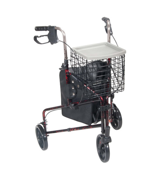 "Drive Medical Deluxe 3 Wheel Aluminum Rollator, 7.5"" Casters (10289RD)"