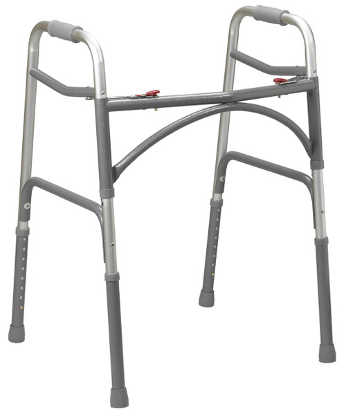 Drive Medical Bariatric Aluminum Folding Walker, Two Button