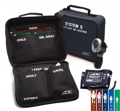 ADC Multikuf™ Portable 5 cuff Aneroid Blood Pressure System Model 740-MCC 5 Color and size cuff