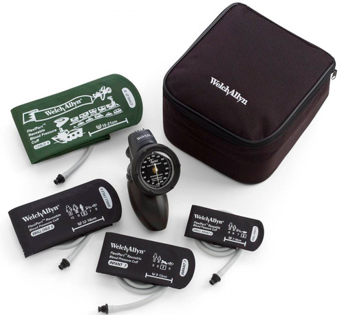 Welch Allyn Platinum DS58 Family Practice Hand Aneroid Sphygmomanometer Kit. Includes: Child - Print, Small child, Infant and Newborn cuffs.