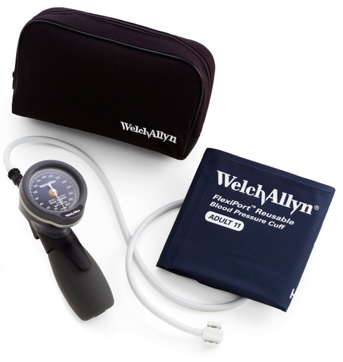 Welch Allyn Gold Series DS66 Adult Trigger Aneroid sphygmomanometer and Nylon Zipper Case