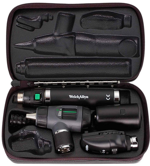 Welch Allyn Diagnostic Set, Lit-Ion Handle With Macro View With Throat Illuminator, Coaxial, Hard Case- Model 97200-MS