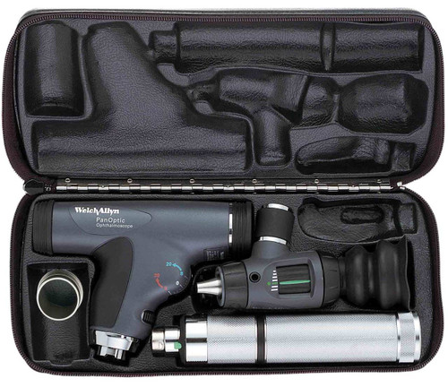 Welch Allyn Diagnostic Set, Ni-cad Handle With PanOptic, Macro View With Throat Illuminator, Hard Case- Model 97100-MPC