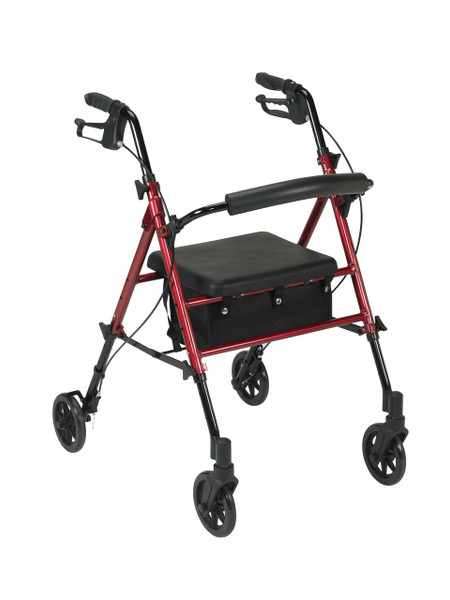 """Drive Medical Adjustable Height Rollator, 6"""" Casters"""