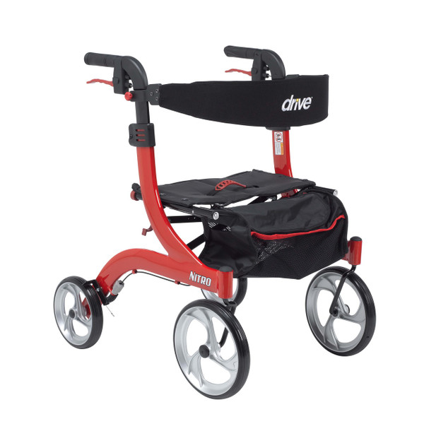 "Drive Medical Nitro Aluminum Rollator, Hemi Height, 10"" Casters"