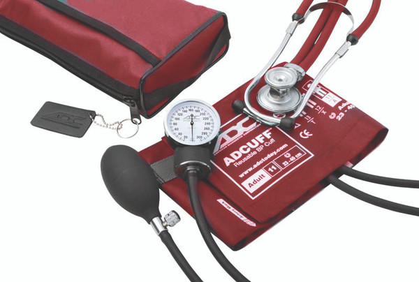 ADC Combo II SR Kit Pocket Aneroid  Sphg With Sprague Stethoscope Model 768-641-11AR Color Red
