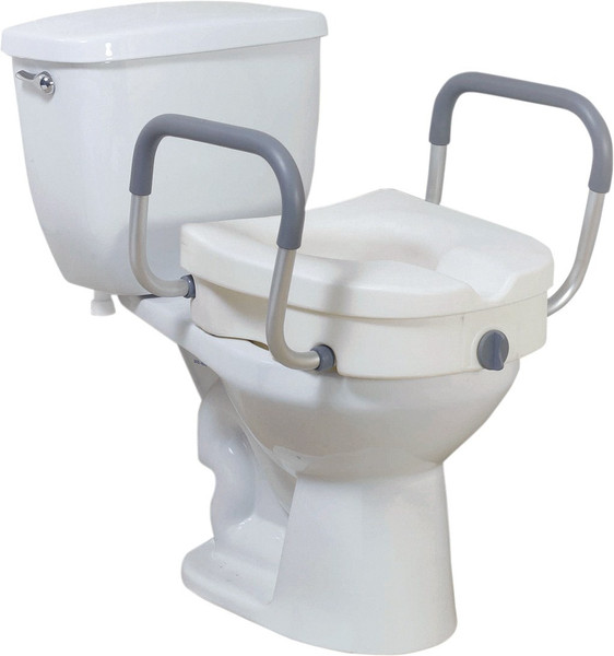 Drive Medical 2-in-1 Locking, Raised Toilet Seat with Tool-free Removable Arms