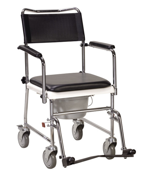 Drive Medical Portable, Upholstered Commode with Wheels and Drop-Arm