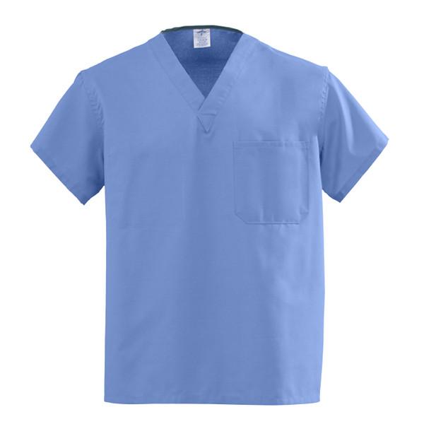 Medline AngelStat Unisex Reversible V-Neck Chest Pocket Scrub top Color ceil blue