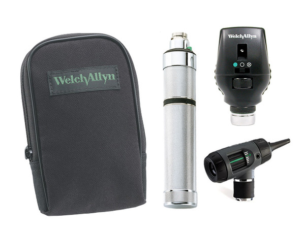 Welch Allyn Diagnostic Set, Nic-cad Handle, Macro View With Throat Illuminator, Coaxial, Soft Case- Model 97201-M
