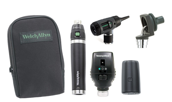 Welch Allyn Diagnostic Set, Lit-Ion Handle With Macro View With Throat and Nasel Illuminator, Coaxial, Soft Case - Model 97211-MS