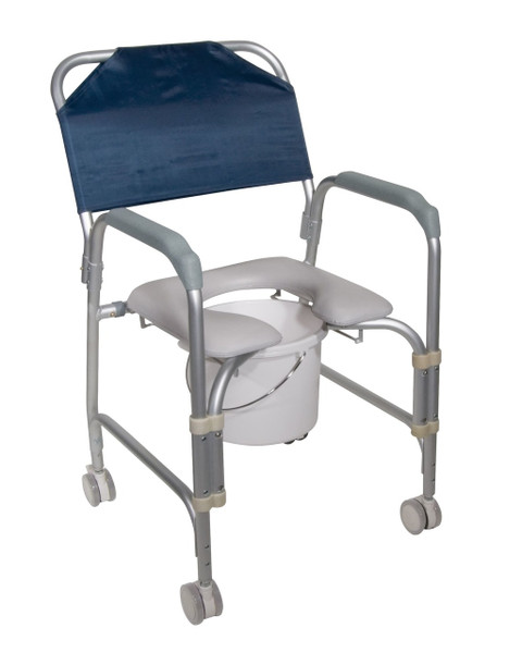 Drive Medical Aluminum Shower Chair and Commode with Casters
