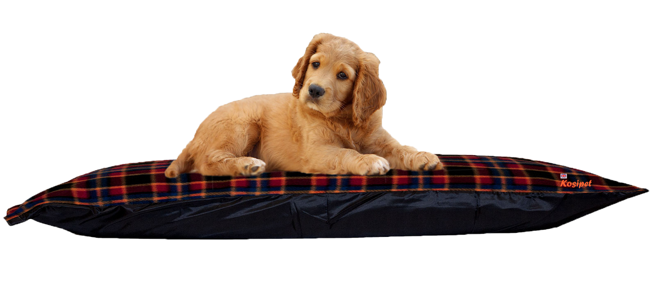 Kosipet Red Check Rectangle dog bed cushion Fibre + Memory Foam