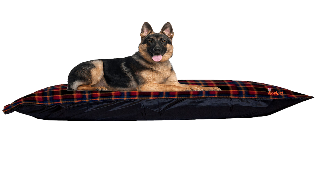 KosiPet® Hollow Fibre + Memory Foam Filled Dog Pet Bed cushion Red Check