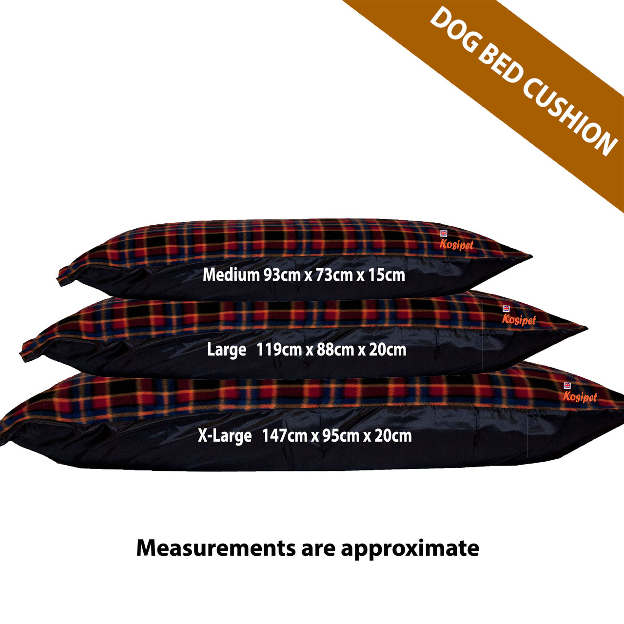 Kosipet Red Check Rectangle dog bed cushion