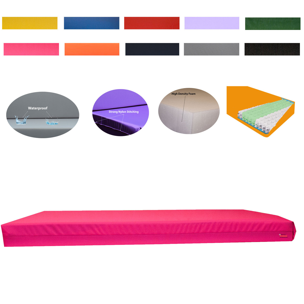 Kosipad 15cm Pocket Sprung gymnastics crash mats Pink thick crash mats