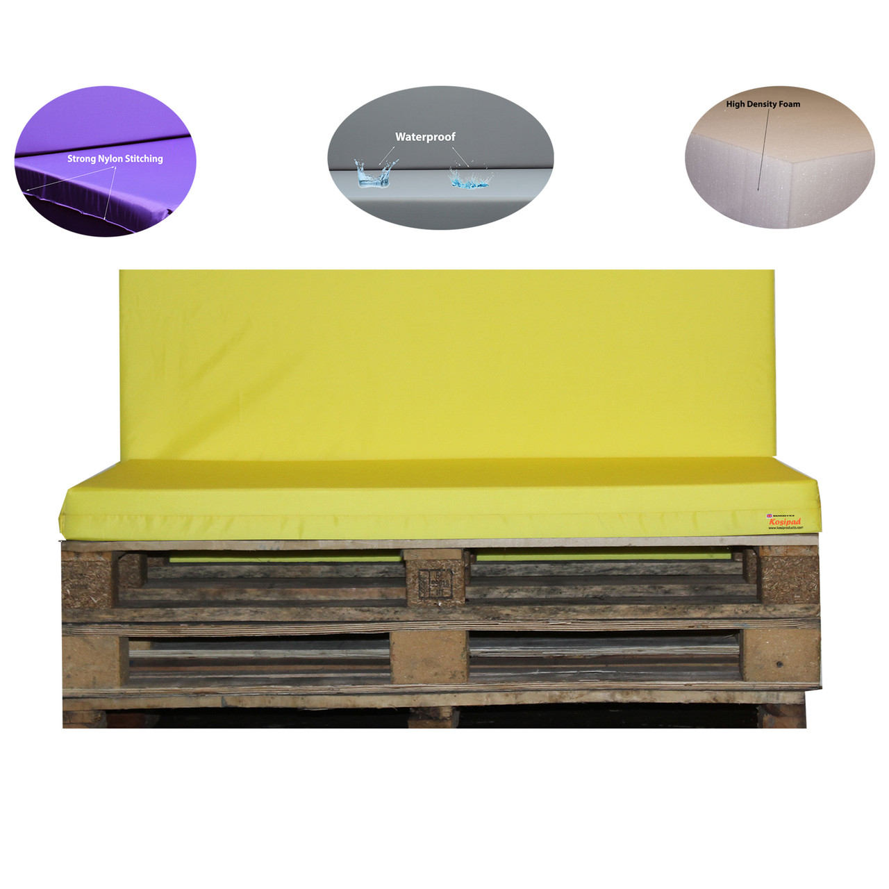 Kosipad Yellow cushions for pallet furniture for Euro Pallets