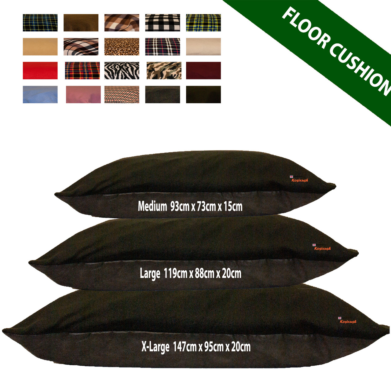 kosikush Black Fleece Large Floor Cushions