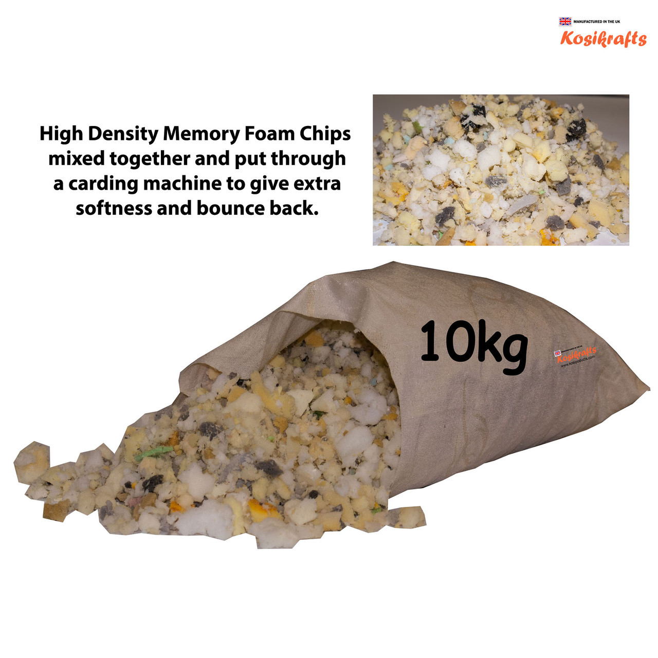 kosikrafts 10kg Memory Foam Chips cushion soft toy stuffing filling for cushion fillers bag