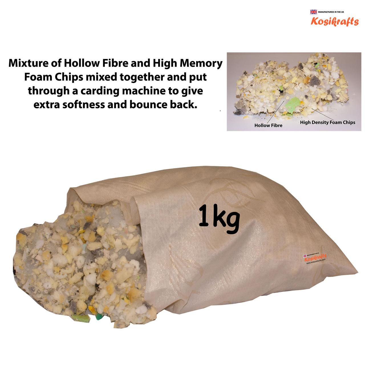 kosikrafts 1kg hollow fibre + Memory Foam mix cushion toy stuffing filling