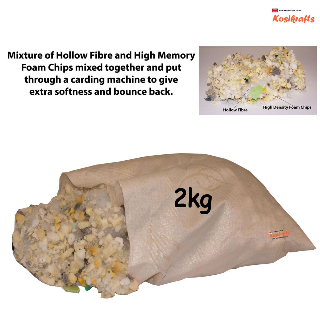kosikrafts 2kg hollow fibre + Memory Foam mix cushion toy stuffing filling