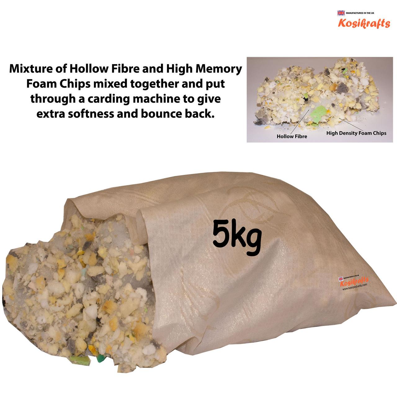 kosikrafts 5kg hollow fibre + Memory Foam mix cushion toy stuffing filling