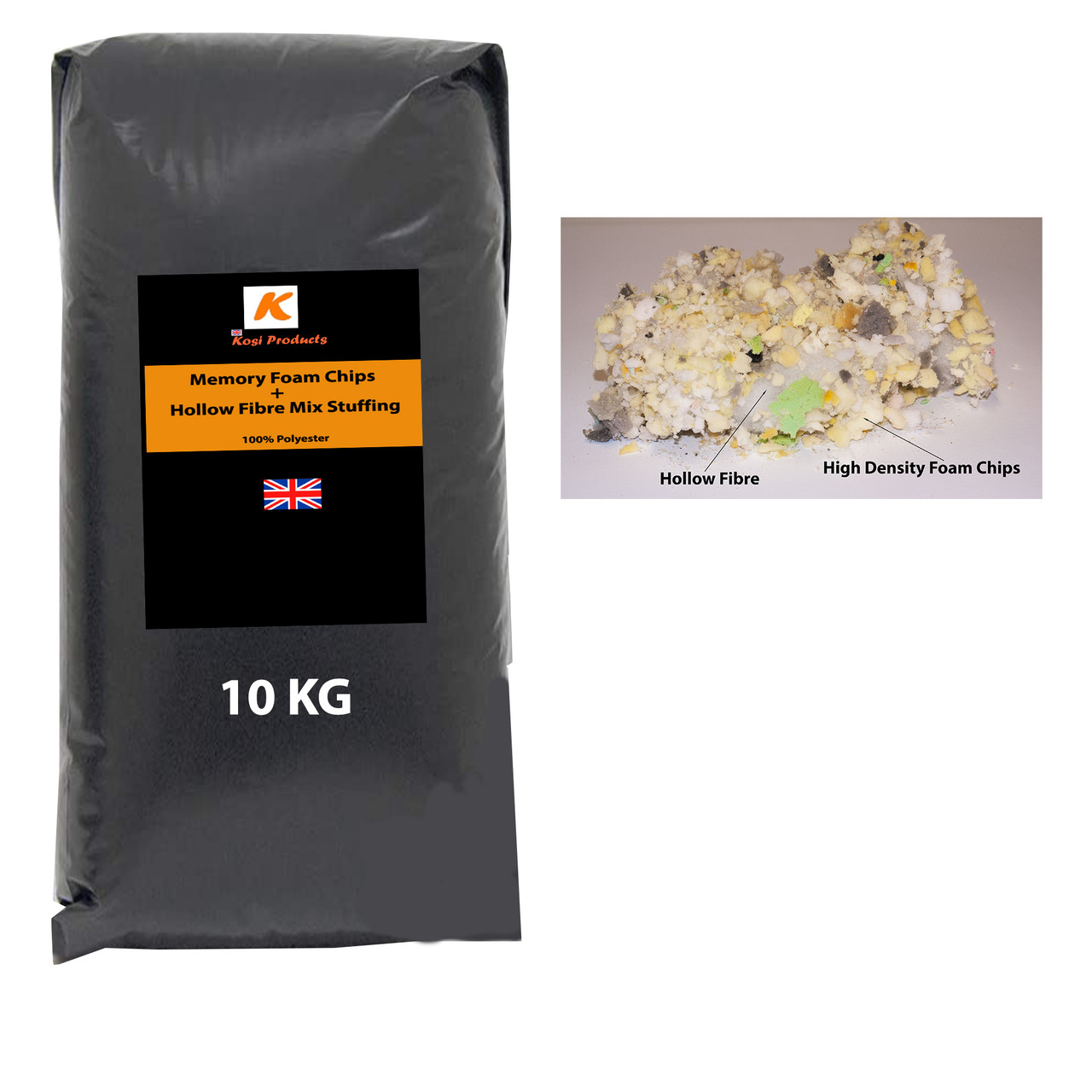 kosikrafts 10kg hollow fibre + Memory Foam mix cushion soft toy stuffing filling for cushion fillers